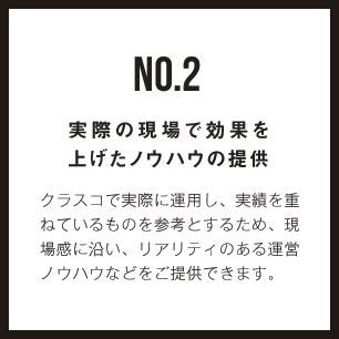 NO.2 実際の現場で効果を 上げたノウハウの提供